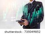 double exposure businessman and ... | Shutterstock . vector #735049852