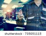 double exposure of  engineer or ... | Shutterstock . vector #735051115
