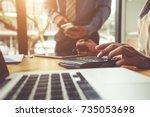 businessman working with... | Shutterstock . vector #735053698