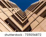 urban geometry  looking up to... | Shutterstock . vector #735056872