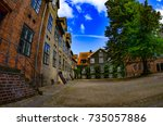 courtyard located at the... | Shutterstock . vector #735057886