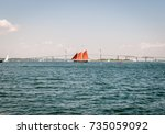 isolated large sailing sail...   Shutterstock . vector #735059092