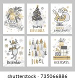 christmas hand drawn cards with ... | Shutterstock .eps vector #735066886