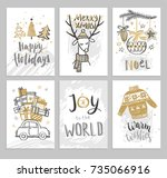 christmas hand drawn cards with ... | Shutterstock .eps vector #735066916