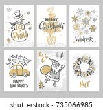 christmas hand drawn cards with ... | Shutterstock .eps vector #735066985