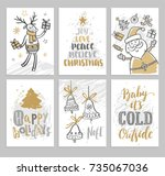 christmas cards with christmas... | Shutterstock .eps vector #735067036