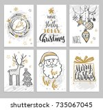 christmas hand drawn cards with ... | Shutterstock .eps vector #735067045
