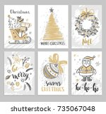 christmas hand drawn cards with ... | Shutterstock .eps vector #735067048