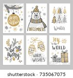 christmas hand drawn cards with ... | Shutterstock .eps vector #735067075
