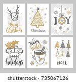 christmas hand drawn cards with ... | Shutterstock .eps vector #735067126