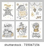 christmas hand drawn cards with ... | Shutterstock .eps vector #735067156