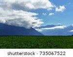 beautiful scenery countryside... | Shutterstock . vector #735067522