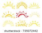 sun icons vector set. doodle... | Shutterstock .eps vector #735072442