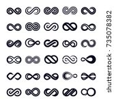 infinity shape icon vector set | Shutterstock .eps vector #735078382