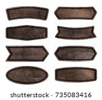 wooden signboard isolated on... | Shutterstock . vector #735083416