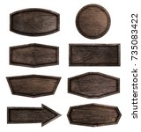 wooden signboard isolated on... | Shutterstock . vector #735083422