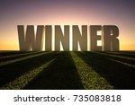 winner word at sunset over...   Shutterstock . vector #735083818