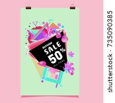 autumn sale memphis style... | Shutterstock .eps vector #735090385