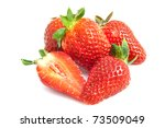 strawberries on a pile isolated ...   Shutterstock . vector #73509049
