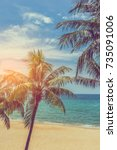 vintage tone image of the beach ... | Shutterstock . vector #735091006