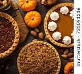 fall traditional pies pumpkin ... | Shutterstock . vector #735091216