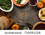 thanksgiving table with turkey  ... | Shutterstock . vector #735091228