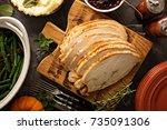 sliced roasted tukey breast for ... | Shutterstock . vector #735091306