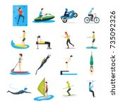 cartoon extreme sports people... | Shutterstock .eps vector #735092326