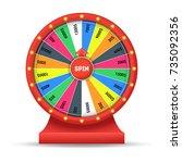 realistic detailed 3d wheel... | Shutterstock .eps vector #735092356