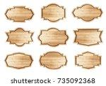vector wooden stickers label... | Shutterstock .eps vector #735092368