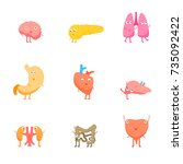 cartoon internal organs funny... | Shutterstock .eps vector #735092422