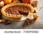 traditional pecan pie  fall... | Shutterstock . vector #735093082