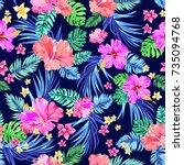 seamless vector tropical... | Shutterstock .eps vector #735094768