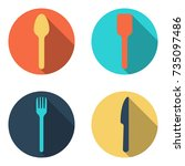 fork spoon and knife cutlery... | Shutterstock .eps vector #735097486
