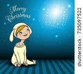 merry christmas blue background | Shutterstock .eps vector #735097522