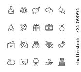 wedding icon set. collection of ... | Shutterstock .eps vector #735098995