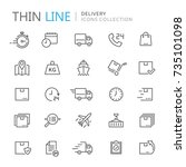 collection of delivery thin... | Shutterstock .eps vector #735101098