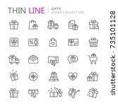 collection of gifts thin line... | Shutterstock .eps vector #735101128