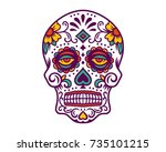 mexican sugar skull day of the... | Shutterstock .eps vector #735101215