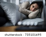 depressed woman | Shutterstock . vector #735101695
