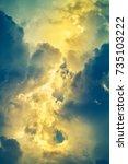 bright yellow light in vertical ... | Shutterstock . vector #735103222