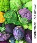 Colorful Pile Of Fresh Cabbage...