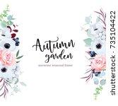 side border frame with flowers... | Shutterstock .eps vector #735104422