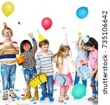 happiness group of cute and... | Shutterstock . vector #735106642