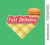 fast delivery concept logo or... | Shutterstock .eps vector #735107602