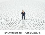 miniature people  businessman... | Shutterstock . vector #735108076