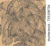areca palm  seamless pattern on ... | Shutterstock .eps vector #735108736