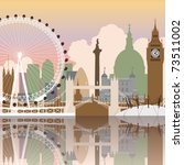 ben,big,bridge,britain,city,cityscape,dome,england,eye,illustration,london,millennium,nelson,parliament,reflection