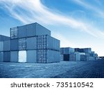 container container ship in... | Shutterstock . vector #735110542