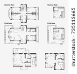 set of black and white...   Shutterstock .eps vector #735113665